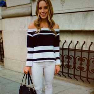 J. Crew off the shoulder striped knit top